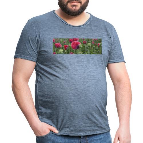 Blühendes Mohnfeld - Männer Vintage T-Shirt