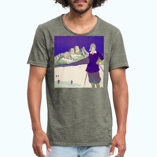Ski trip vintage poster - Men's Vintage T-Shirt