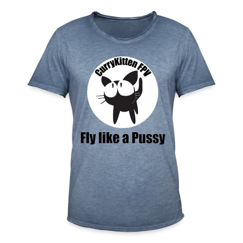 CurryKitten Logo - Fly like a Pussy - Men's Vintage T-Shirt