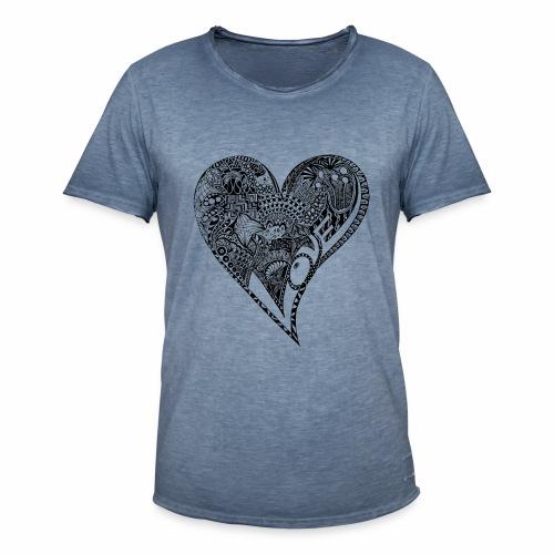 Heart black - Männer Vintage T-Shirt