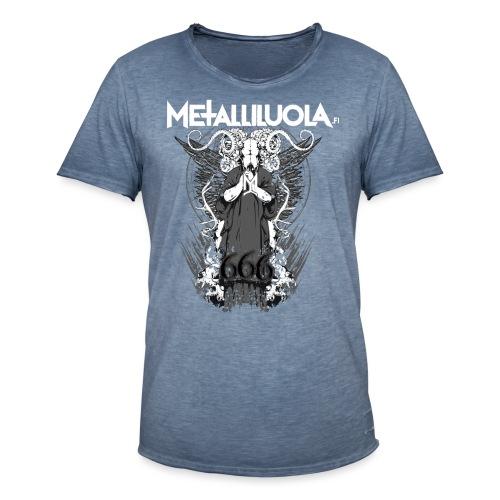Metalliluola logo ja Demoniac 666 - Miesten vintage t-paita