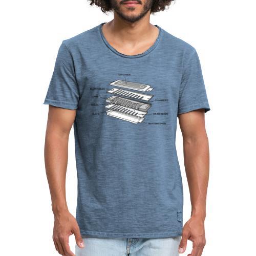 Exploded harmonica - black text - Men's Vintage T-Shirt