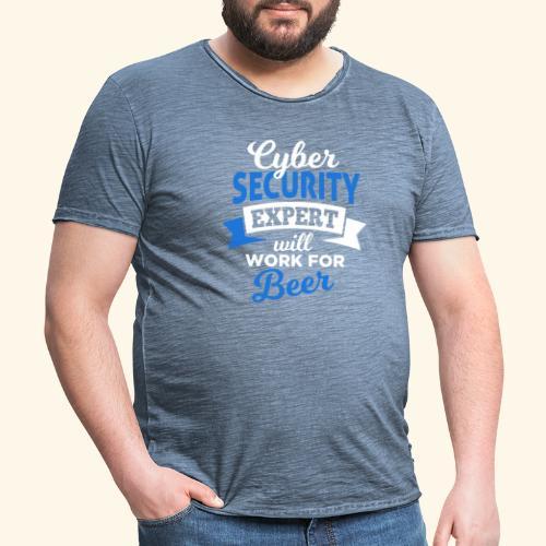 Cyber Security Expert will work for beer - Maglietta vintage da uomo