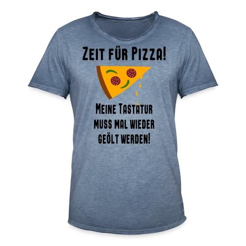 Pizza Essen Tastatur Computer Freak Nerd Spruch - Männer Vintage T-Shirt