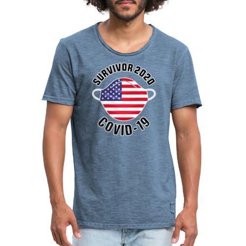 survivor covid-19 USA - Camiseta vintage hombre