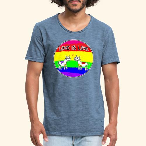 Love is Love! mit Kuhi und Muhi - Männer Vintage T-Shirt
