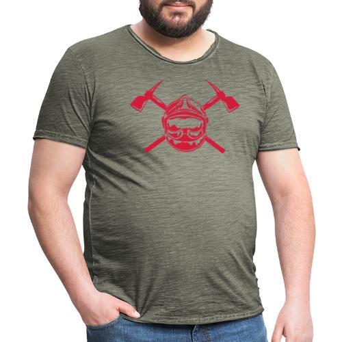 casque_pompier_2 haches - T-shirt vintage Homme
