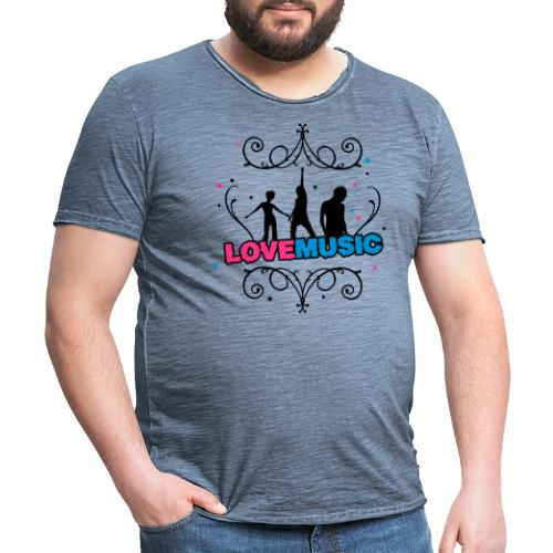 Motif Love Music - T-shirt vintage Homme
