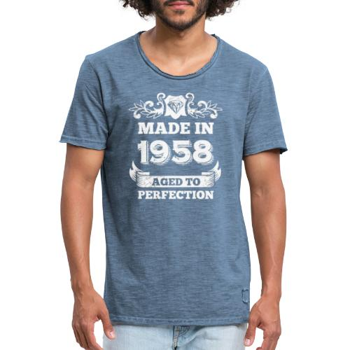 60th Birthday gift Made in 1958 Aged to Perfection - Men's Vintage T-Shirt