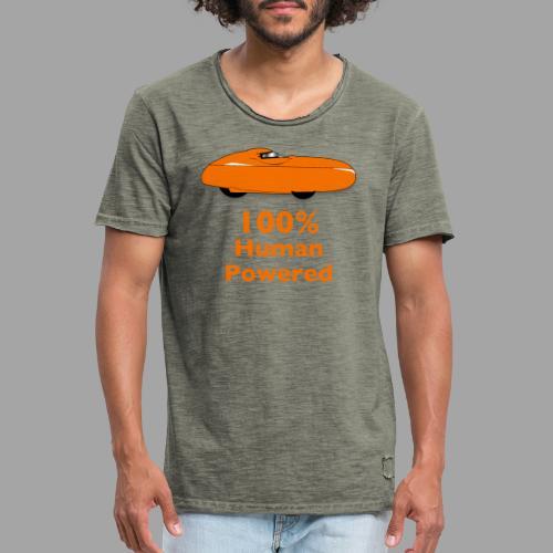 100% human powered - Miesten vintage t-paita