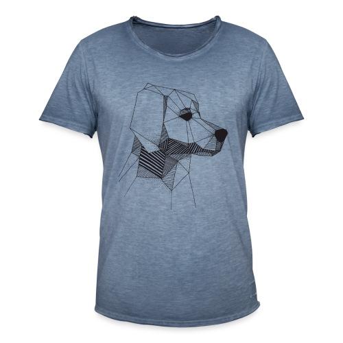 Golden Retriever Geometrisch Zwart - Mannen Vintage T-shirt