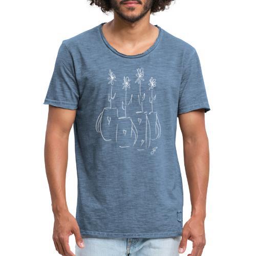 John's Flowers in White - Men's Vintage T-Shirt