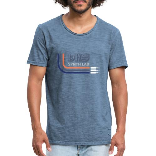 DKS SYNTH LAB Curved Blue-Orange - Maglietta vintage da uomo