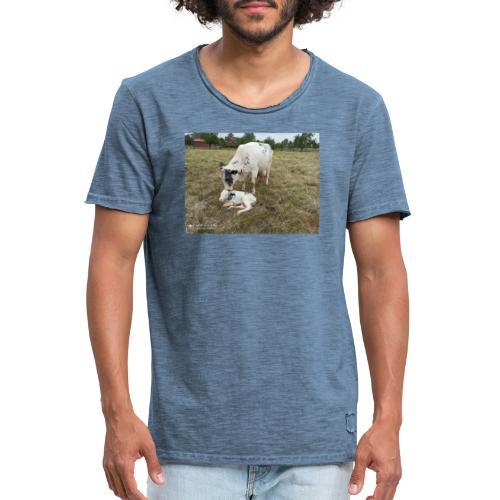 Kuh mit Kalb - Männer Vintage T-Shirt