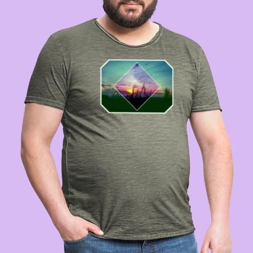 Tramonto in risalto tra figure geometriche - Maglietta vintage da uomo