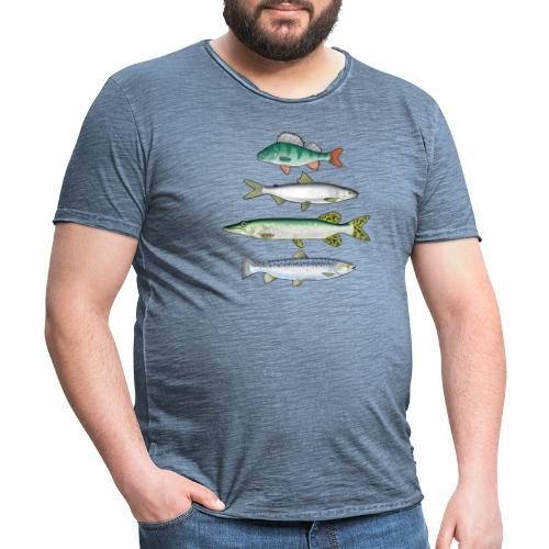 FOUR FISH - Ahven, siika, hauki ja taimen tuotteet - Miesten vintage t-paita