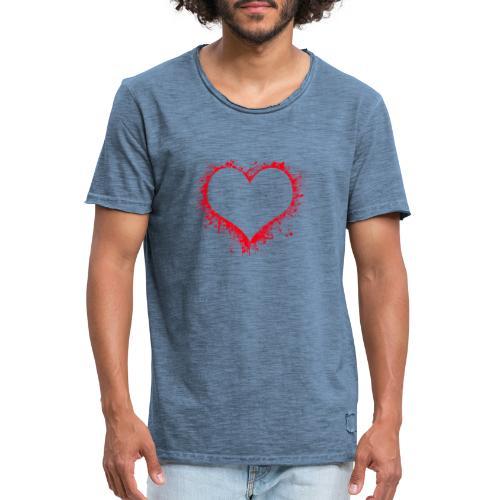 corazón pintura - Camiseta vintage hombre