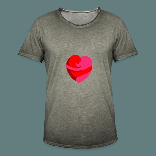 hearts hug - Maglietta vintage da uomo