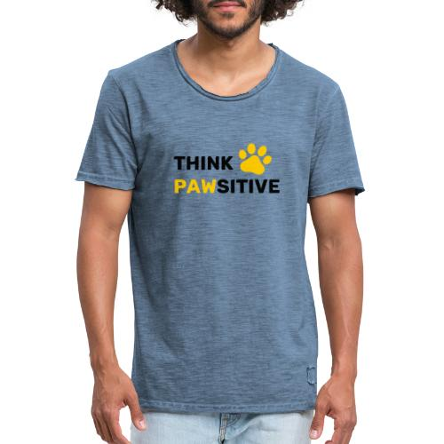 think pawsitive - T-shirt vintage Homme