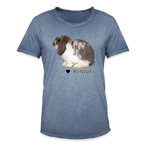 I Love Bunnies Luppis - Miesten vintage t-paita