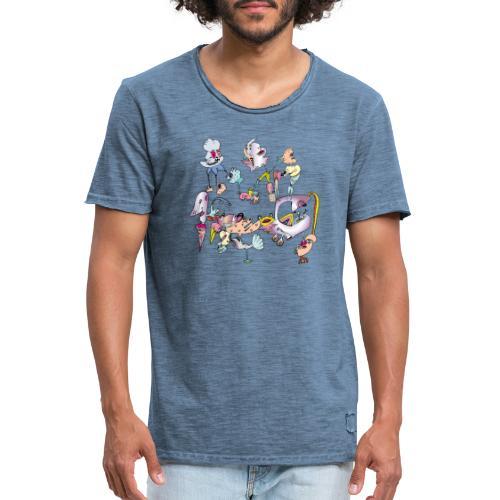 Colourfull jook doodle - Mannen Vintage T-shirt