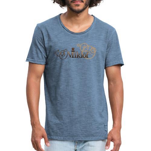 miklof logo gold wood gradient 3000px - Men's Vintage T-Shirt