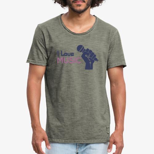 Amo la música - Camiseta vintage hombre