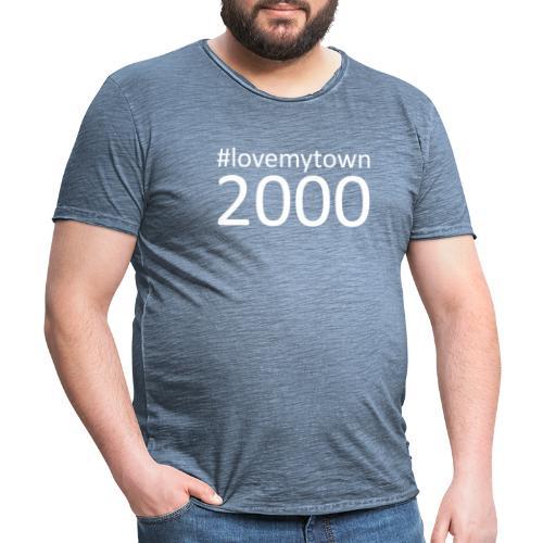 lovemytown2000wit - Mannen Vintage T-shirt