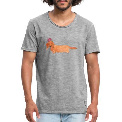 dachshund with flower - Herre vintage T-shirt