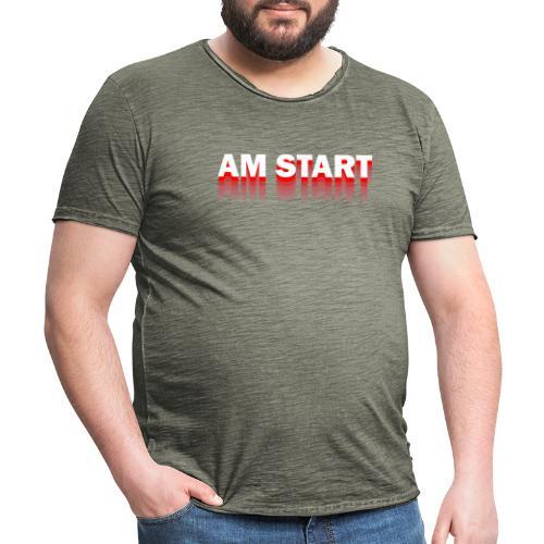 am Start - rot weiß faded - Männer Vintage T-Shirt