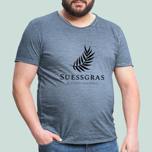 SUESSGRAS BLACK LEAF - Männer Vintage T-Shirt