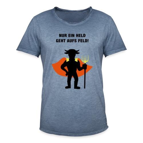 Nur ein Held geht aufs Feld Logo und Text - Männer Vintage T-Shirt