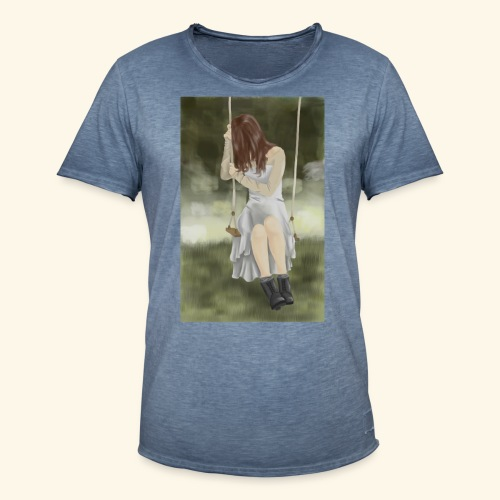 Sad Girl on Swing - Men's Vintage T-Shirt