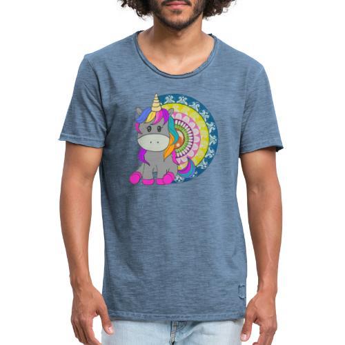 Unicorno Mandala - Maglietta vintage da uomo