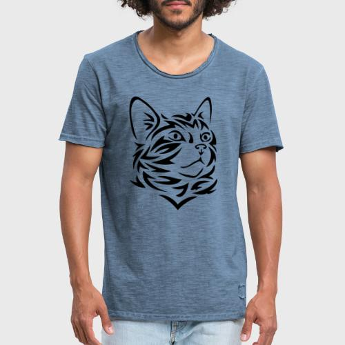Chat Tribal Tattoo - T-shirt vintage Homme