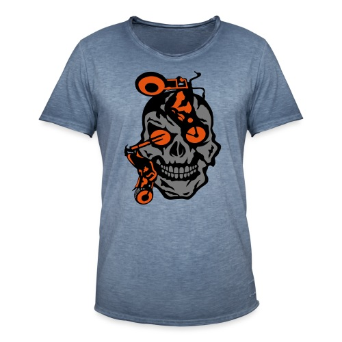 tete mort moto motrocycle oeil skull - T-shirt vintage Homme