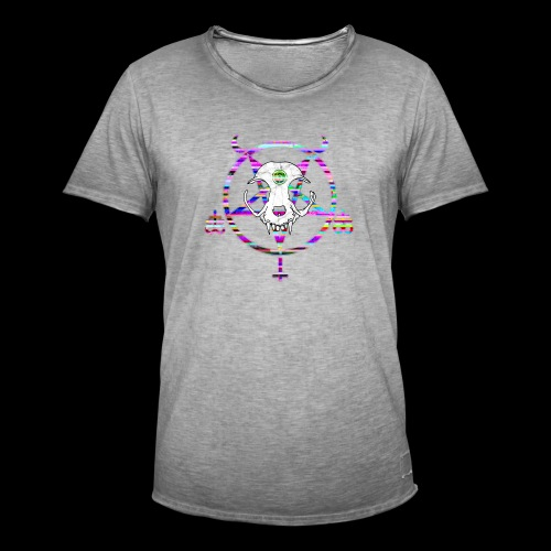 glitch cat - T-shirt vintage Homme
