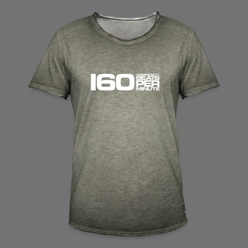 160 BPM (valkoinen pitkä) - Miesten vintage t-paita