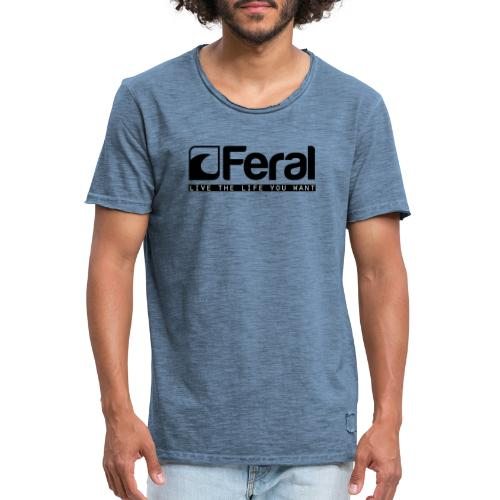 Feral Surf - Live the Life - Black - Men's Vintage T-Shirt