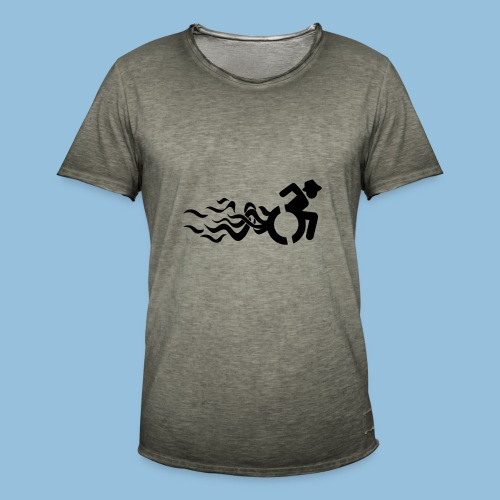 Wheelchair with flames 013 - Mannen Vintage T-shirt