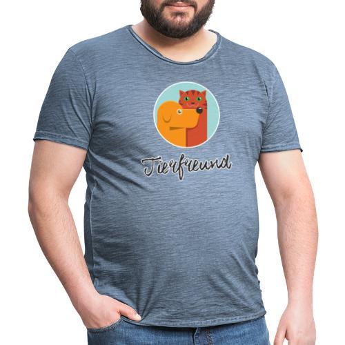 Tierfreund mit Schriftzug - Männer Vintage T-Shirt