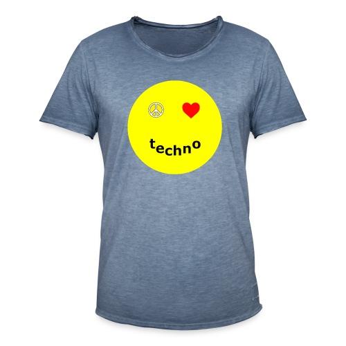 camiseta paz amor techno - Camiseta vintage hombre