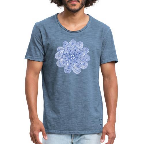 hypnotic flower blue - Maglietta vintage da uomo
