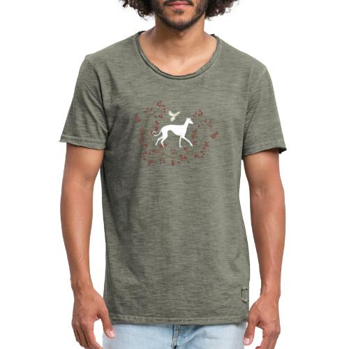 Windhund und Beerensträucher - Männer Vintage T-Shirt