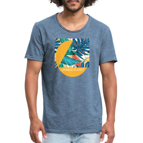 Orange Planet - Männer Vintage T-Shirt