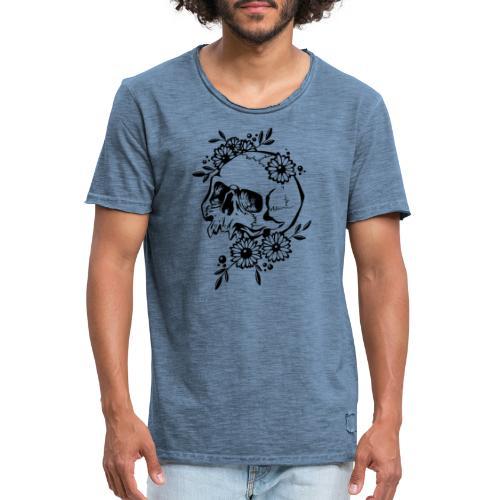 Skull and Flowers - Vintage-T-shirt herr