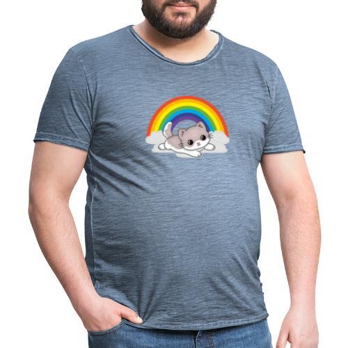 Gato arcoiris - Camiseta vintage hombre