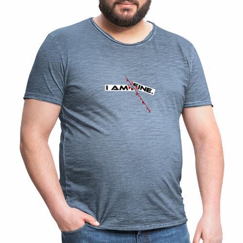 I AM FINE Design mit Schnitt, Depression, Cut - Männer Vintage T-Shirt