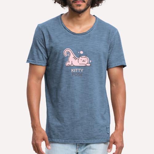 Yoga Pose Kitty Funny Print T-shirt Design - Men's Vintage T-Shirt