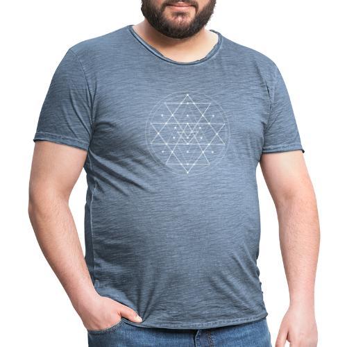 Valkoinen geometrinen Shri Yantra -kuvio - Miesten vintage t-paita